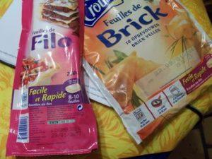 Feuilles de brick et pâte Filo