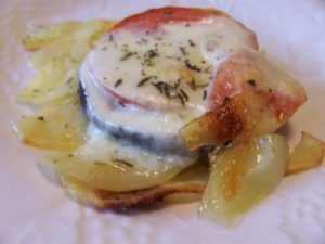 Patata tomates, aubergines et mozarella
