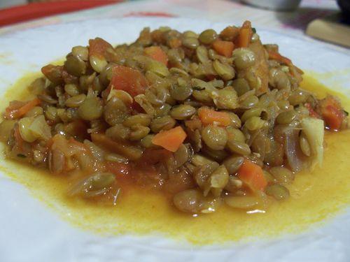 lentilles végétariennes aux carottes
