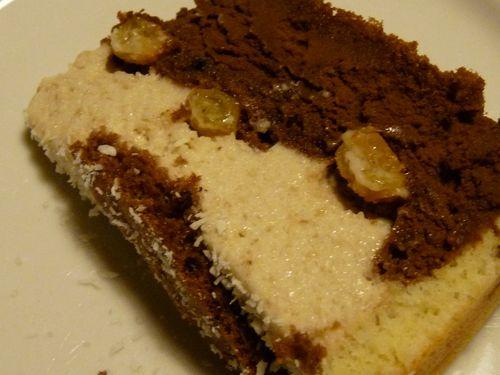 Biscuit ganache chocolat noir et mousse à la banane